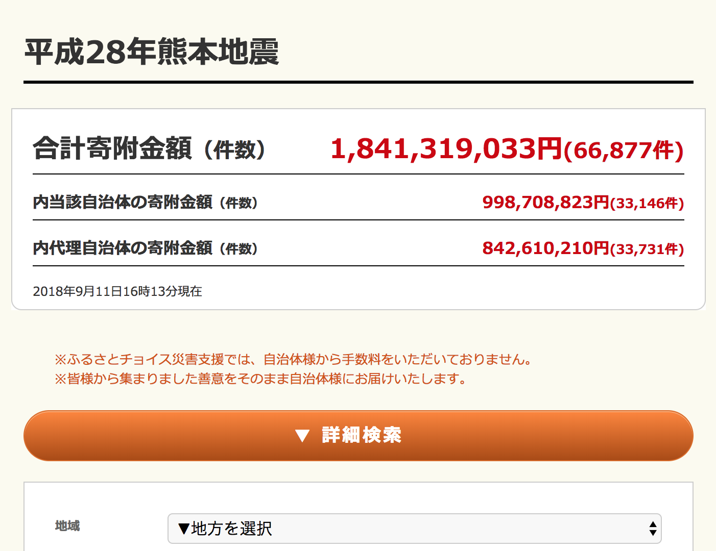 ふるさと納税サイトから災害支援(北海道・大阪・熊本)
