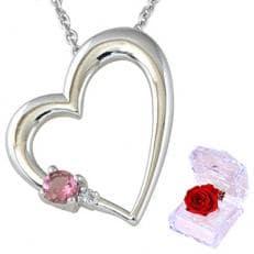 ピンクトルマリン ダイヤモンド ハート ネックレス ALWAYS(いつも一緒 刻印 )