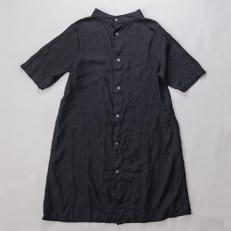 【泥藍染】手染めリネン2wayワンピース サイズ1 AN-1903