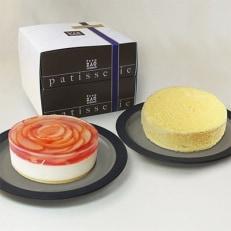 桃のレアチーズケーキとドゥーブルフロマージュセット[4206-016]