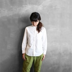 HUIS遠州織物タイプライタークロスコットンシャツ003W(白) ユニセックスsize1