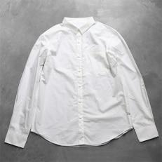 HUIS遠州織物タイプライタークロスコットンシャツ003W(白) ユニセックスsize3