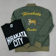 「HIRAKATA CITY」ひらかタイガーライトMA-1(カーキM)+Tシャツセット(黒M)