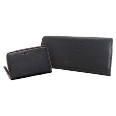 LUEGO カラーステッチ長財布・カードケースセット/ブラック×ブラウン