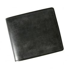 LUEGO ブライドルレザー小銭入れなし二つ折り財布/ブラック