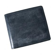 LUEGO ブライドルレザー小銭入れなし二つ折り財布/ネイビー
