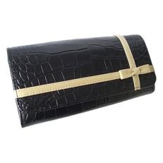 LUEGO クロコ型押しクロスリボン長財布/ブラック×ゴールド