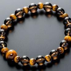 数珠ブレスレット 虎目石&茶水晶