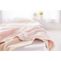 【ふるさと納税】綿100%綿毛布シングルサイズ・ベージュとピンクのセット