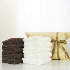 泉州タオルシルキータッチフェイスタオル 10枚 ギフトパッケージ/ブラウン・ホワイト各5枚 B543