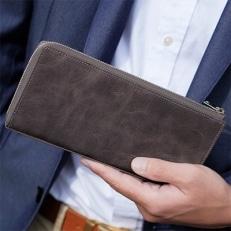 【TAVARAT】日本製 薄マチ仕上げの本革L字長財布 グレー H121