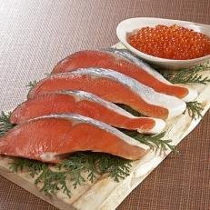 いくら醤油漬(200g)と秋鮭ほぐし(100g)秋鮭切り身(5切れ)のセット
