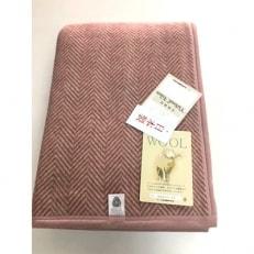 日本製/ウール毛布 シングルサイズ ヘリンボン ピンク系