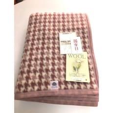 日本製/ウール毛布 シングルサイズ 千鳥 ピンク系