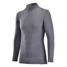 男性用 防寒用ハイネックインナーシャツ&ヒートタイツ上下セット(Mink) グレー サイズL