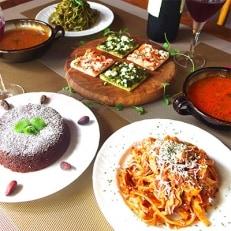 手作りイタリアンディナーセット スープ・パスタ・ピザ各2人前<計6種類>ケーキ直径12cm