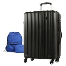 スーツケースPC7258(軽量)Mサイズ  ジェットブラック+折りたたみリュック(ブルー)