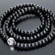 数珠ブレスレット 黒檀108玉 本水晶 龍彫入 三重巻きブレス&ネックレス