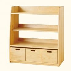 子ども家具・可動式の棚おもちゃ箱3個付き