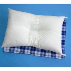 洗える/防ダニ・抗菌防臭 枕+カバー ブルー2枚付