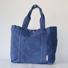 三角カバン 洗いトートバッグ(紺)