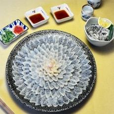 とらふぐ刺身 菊盛り一尺大皿 ふぐ皮湯引き付 4人前