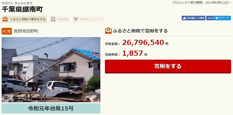台風で被害にあった千葉県鋸南町へのふるさと納税