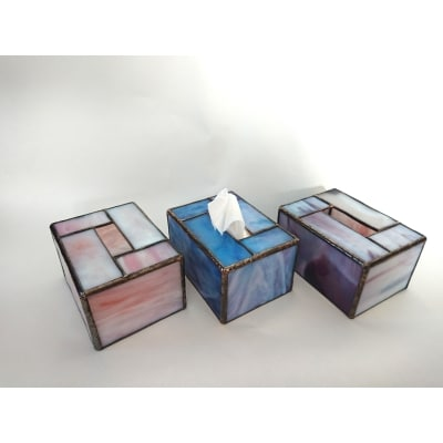 ステンドグラスのポケットティッシュケース2個セット(ブルー・ブルー)