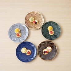 【波佐見焼】一龍陶苑 しのぎシリーズ 中皿5色セット CC18