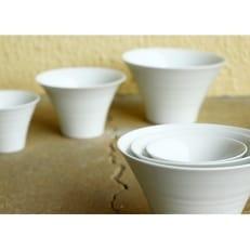 【波佐見焼】白 いれこ碗 ペアセット XA38