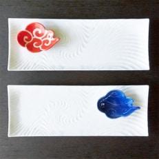 有田焼 白磁長角皿と筋斗雲豆小皿セット(長角皿×2個・雲豆小皿×2個)