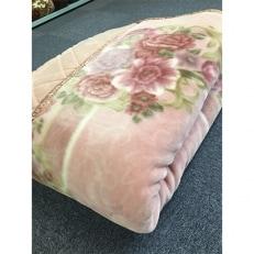 日本製 アクリル マイヤー毛布 シングル ピンク 1枚 (カシミヤ・ウールわた入り毛布)5099