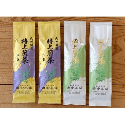 八女茶「極上煎茶」100g×2本・九州銘茶「特上煎茶」八重100g×2本飲み比べセット