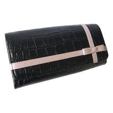 LUEGO クロコ型押しクロスリボン長財布/ブラック×ピンク