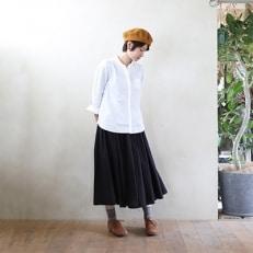 HUIS遠州織物ゆるふわコットンスカート(クロ)