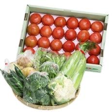 季節の野菜詰め合せと長生きトマト1箱(20玉もしくは24玉)