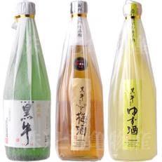黒牛 3本セット (純米酒720ml/梅酒720ml/ゆず酒720ml)名手酒造(E002)