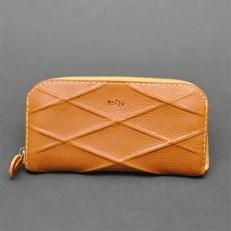 【topiv】格子模様の長財布(ラインキャメル)