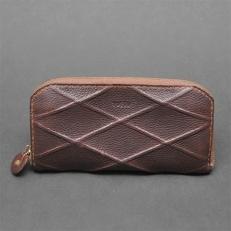 【topiv】格子模様の長財布(ラインブラウン)