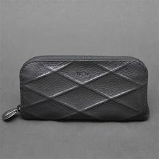【topiv】格子模様の長財布(ラインブラック)