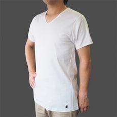 【匠が作る逸品の肌着】荒尾の和糸 紳士半袖『くまモン』(V首 白 Lサイズ) 第一紡績