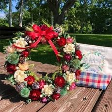 ハーベスター八雲 八雲町産花卉で作るフラワーリースとポーチのセット
