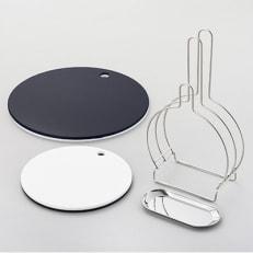 栗原はるみ 【抗菌剤配合】まな板(丸)ネイビー35cm&24.5cm&まな板スタンドセット