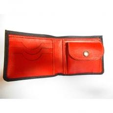 ハンドメイド牛革二つ折り財布〔黒赤〕