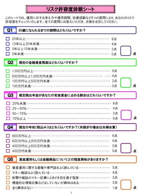 明治安田生命「リスク許容度診断シート」(pdf)