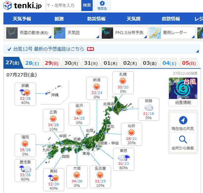 日本気象協会のホームページ