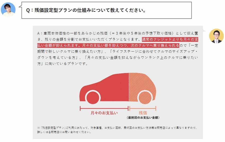 トヨタの残価設定ローンで50%価格の買取保証