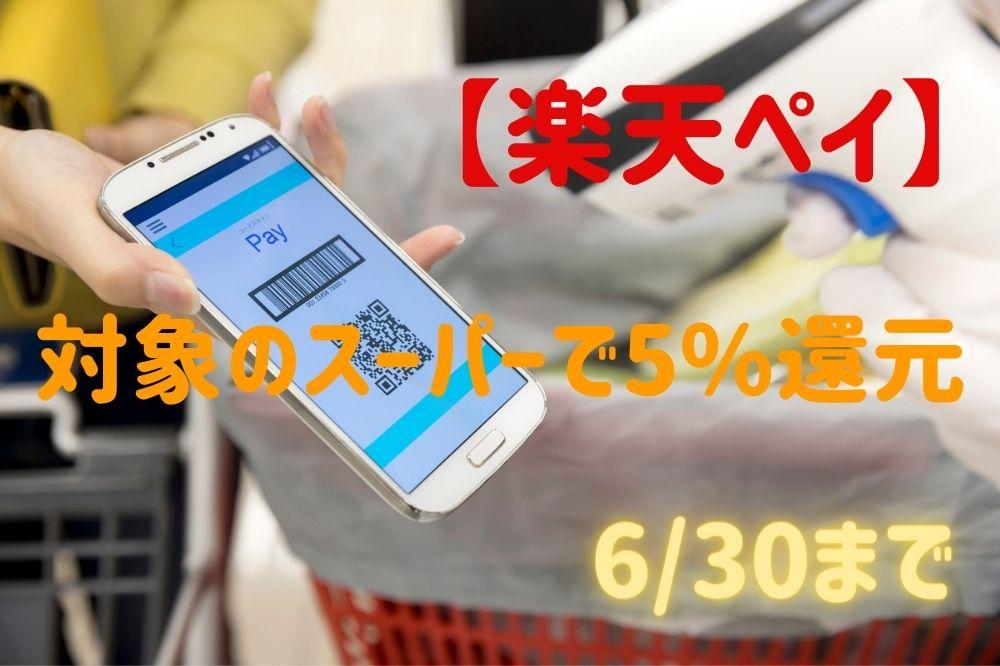 【楽天ペイ】6/30まで対象のスーパーで5%還元 お得なスーパーがさらにお得に